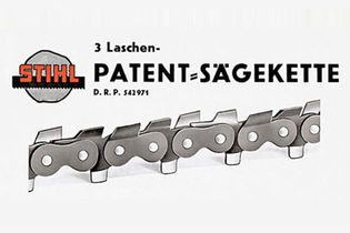 1932: Patented Stihl saw chain